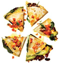Guilt-free veggie quesadillas with fresh salsa. Fill with avocado, spinach, red peppers, cheese or choose your own favorites!