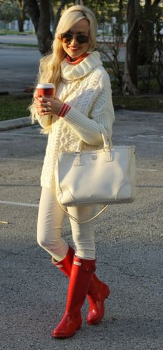 Girl in White Outfit with Red Rain Boots- Street Style Fashion