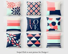 Throw Pillow Covers Accent Pillow Cover Decorative Pillow Covers Geometric Pillow Covers Home Decor Coral Navy Blush Aqua Beige