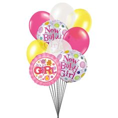 Send colorful #balloons for cute baby Girl.  Send Balloons For New Baby