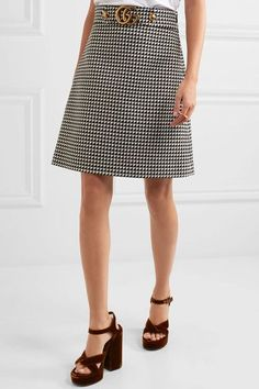 Gucci - Houndstooth Wool-blend Mini Skirt - Black - IT38
