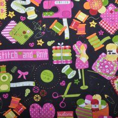 Bavlna černá se šicími pomůckami Fabrics, Knitting, Tejidos, Tricot, Breien, Stricken, Weaving, Knits, Crocheting