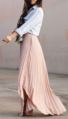 #spring #fashion Denim Jacket & Pink Pleated Maxi Dress