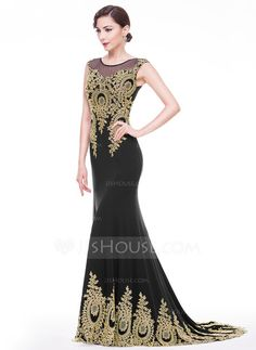 [US$ 170.49] Trumpet/Mermaid Scoop Neck Court Train Jersey Evening Dress With Appliques Lace