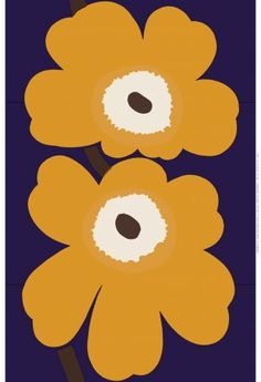 Marimekko Unikko Anniversary Violet / Mustard Sateen Fabric Repeat - Made in Finland Marimekko Wallpaper, Marimekko Fabric, Pattern Wallpaper, Textile Patterns, Print Patterns, Pattern Art, Pattern Design, Scandinavia Design, Nordic Design