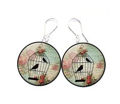 Earrings decoupage vintage birdcircles crafts funny by SzaraLotka, $15.00