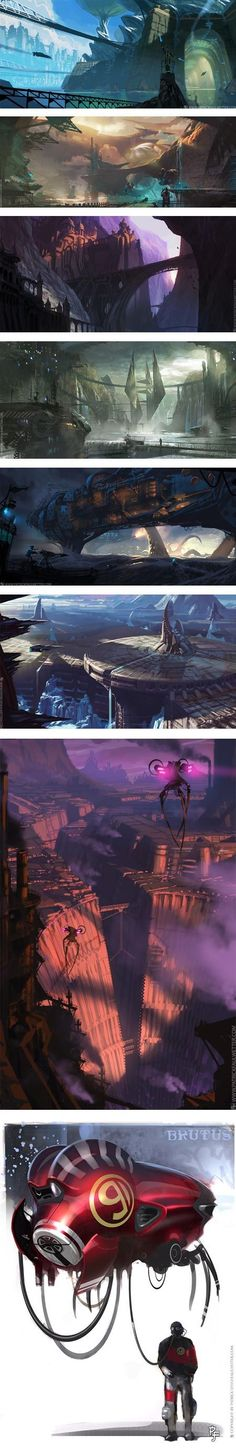 This is a collage of concept art made by Patrick Faulwetter, I chose this collage because I really love the futuristic feel to these pieces of concept art. Landscape Concept, Fantasy Landscape, Landscape Art, Cyberpunk, Environment Concept Art, Environment Design, Illustrations, Illustration Art, Bd Design