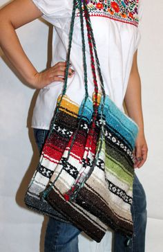 Assorted Colors Beach Shoulder Mexican Hippie Baja Bag, Handbag, Ethnic, Blanket Purse
