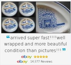 Charming vintage set of Iroquois China Restaurant Divided Grill Plate Set 4 Blue Transfer Ye Olde Inn