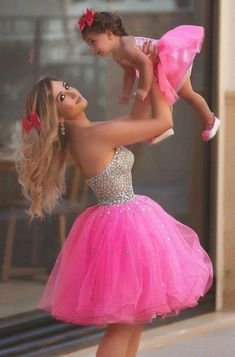 hot pink beaded prom dresses short mother and daughter matching dresses toddler little girl dresses (price is for both dresses) Mother Daughter Photos, Mother Daughter Fashion, Mother Daughter Matching Outfits, Mommy And Me Outfits, Girl Outfits, Mother Daughters, Baby Girl Party Dresses, Birthday Dresses, Little Girl Dresses