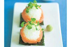 Smoked salmon sushi balls