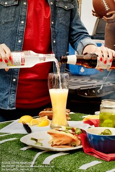 This Gameday, be the most valuable pourer with the MVPour Shandy: a sweet and smooth citrus twist on your usual beer, perfect for tailgating and toasting. RECIPE: 1 bottle of Smirnoff ICE Original, 1 bottle of Lager beer, lemon wedge garnish Party Food And Drinks, Bar Drinks, Yummy Drinks, Alcoholic Drinks, Beverages, Smirnoff Ice Original, Cocktail Recipes, Cocktails, Spirit Drink
