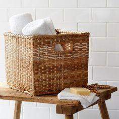 """Plaid Weave Storage Basket #WestElm. 12.25"""" diameter x 10.5""""H. $39.00"""