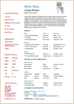 8 Best Acting Resume Template Images On Pinterest In 2018 Acting