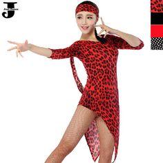 US $36.20 / piece Latin Dance Dress Long Sleeve Cha Cha/Rumba/Samba/Tango/Ballroom Clothing For Dance Red/Black/Point/Leopard Regatas Femininas