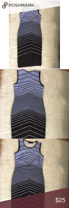 """Periwinkle blue/black chevron ankle scuba dress Pastel Lavender (periwinkle blue) /black chevron pattern ankle length (maxi) scuba dress. Sz 4. Body hugging fit. Beautiful colour. Sleeveless. Wear it as is in summer and early fall. Or pair with a cardigan on colder days (pic of me wearing attached) it fits right below my knees (I'm 5.4"""" ft for reference) Apt. 9 Dresses Midi"""