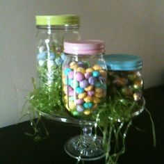 Easter candy in mason jars.