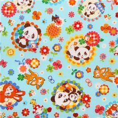 blue kawaii animals flowers mushrooms Cosmo animal fabric from Japan