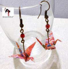 pendientes grullas en origami  papel washi origami artesanía japonesa