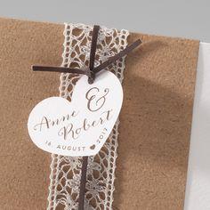 """Einladungskarte """"Susan"""" - Kraftpapier trifft Spitze weddix"""