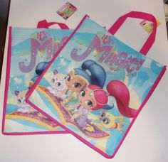2 Pack Shimmer and Shine Tote Bags Reusable Eco 13 x 6 Lightweight Nickelodeon #Nickelodeon #Shopping