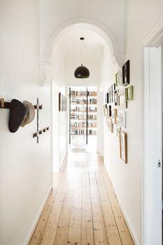 64 New Ideas For Light Pine Wood Floors White Walls Bar Interior Design, Interior And Exterior, Decoration Hall, House Decorations, Christmas Decorations, White Hallway, Bright Hallway, Farmhouse Flooring, Farmhouse Decor