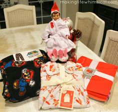 """Elf on the Shelf leaving Christmas PJ's for child - I'll do this in conjunction with the """"I'm Back"""" letter so my child can wear her PJ's right away."""