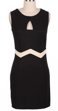 Black Sleeveless Hollow Front Body-Conscious Dress