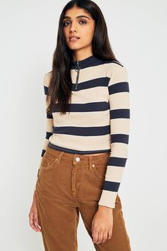 UO Ribbed Striped Half-Zip Long Sleeve Knit Top | Urban Outfitters