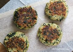 Quinoa and Spinach Patties from skinnytast.com.    Okay, some people in my family may not like the green in here, but I think this would be good!