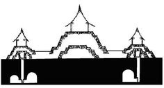 Profile showing a circular pyramid, platforms and tombs (sketch by Phil Weigand)