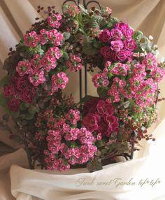 tef*tef*寄せ植えリース<BR>>2015 * no.18 *<BR><BR>大人ピンク色リース | 寄せ植え | | Junk sweet Garden tef*tef* ガーデニング雑貨・花苗