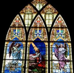 Antique Church Stained Glass Window Set. Stained glass window set containing six windows. There is one window that is 10'W x 15'H and six windows that are 3'W x 8'H. Windows are available individually. The set includes: -Christ Praying in the Garden & Angel Windows -Christ at the Door -Christ and the Children -Christ in the Field -Good Shepherd -King David
