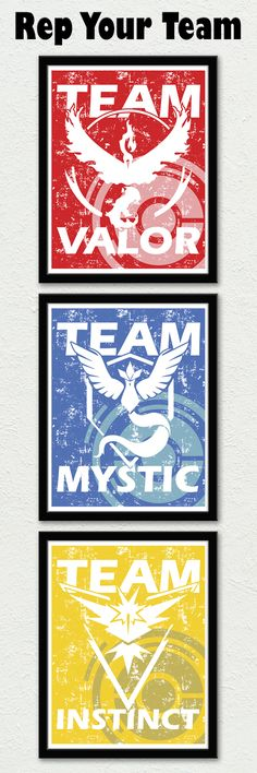 Pokemon GO Team Posters! Rep your team proudly whether you're for Team Valor, Team Instinct or Team Mystic by PiDesignPrints