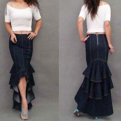 Plus Size XL Fashion Denim Fish Tail Skirt Layers Of Ruffles Mermaid Denim Skirt This is exactly my idea for the bottom of my dress!different fabric-and layered red and gunmetal :) Xl Fashion, Denim Fashion, Fashion Design, Fashion 2016, Jeans Denim, Jeans Fit, Blue Jeans, Denim Skirts, Jeans Dress