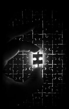 In his book, Mysterium Coniunctionis, Jung says that an experience with the self is always a defeat for the ego but that the death of the ego (the self as you knew it) allows one to be reborn into one's own wholeness as projections are taken back. Black N White Images, Black Art, Black White, Missing Piece, Puzzle Pieces, Light And Shadow, Back To Black, Life Is Beautiful, Black And White Photography