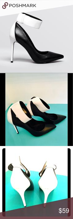 Enzo Angiolini Black and White pumps w/ankle strap Enzo Angiolini Black and White pumps with ankle strap. Size 9 Never Worn Enzo Angiolini Shoes Heels