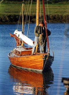 """Humber Yawl """"Flute"""". Humber yawl built 1972 by Ian Cooper at Waterhead, Windermere and modelled on Geo Holmes' EEL. 21ft x 7ft x 3ft, iron keel. Extensively rebuilt by Jamie Clay, 1999-2000."""