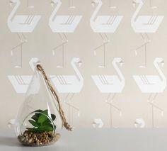 Flamingos In A Line in Neutral wallpaper  #wallpaper #removablewallpaper #flamingo #flamingowallpaper #flamingos