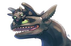 Toothless and Night Fury hatchling by Junryou-na-Kokoro.deviantart.com on @DeviantArt