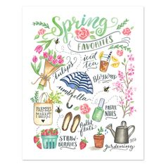 Lily & Val – Spring Favorites Print - Illustrated Art - Spring Favorites - Spring Decor - Copic Art