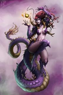 Nu-Kua - ancient chinese goddess of creation and divine foremother of humans. Half woman, half dragon who wanders the earth. She created order from primordial chaos of the universe, settling the land, the sea and the sky into place.