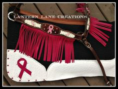 "1"" wool custom saddle pad to match custom ordered Breast Cancer Awareness fringed breast collar."