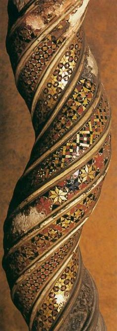 Detail of a twisted stone column, 1215-1232  Stone in San Giovanni Laterano, Rome ~ by Vassalletto, marble worker family