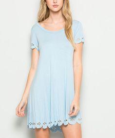 Acting Pro Ice Blue Scalloped Hem Dress - Zulily