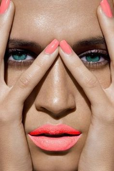 Coral lip and nails. Wear w/ simple winged black cream or liquid liner! #BCBGeneration