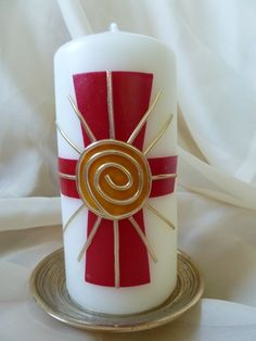 Osterkerzen - Osterkerze Kreuz und Sonne - ein Designerstück von kerzenunddeko bei DaWanda