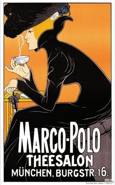 Marco Polo Thee Salon - Vintage Advertising Poster, advertising, classic posters, food, free download, free posters, free printable, french poster, graphic design, printables, retro prints, vintage, vintage posters, vintage printables