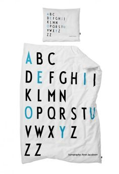 DesignLetters bed linen for kids. Loooove the beautiful letters from Arne Jacobsen.