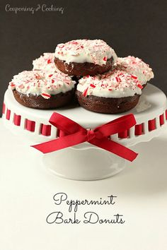 Light & fluffy chocolate donuts made from muffin mix topped with white chocolate candy coating and crushed candy canes. It's like having pep...